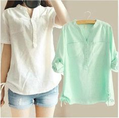 2017 Autumn White Pleated Blouse Ladies Office Shirts Long Sleeve Linen Shirt Womens Tops Fashion Cotton Woman Clothes plus sizeWomens Short Sleeve Summer T Shirt Tops Cold Shoulder Loose Casual Blouse Tee Cute Blouses, Blouses For Women, Kurta Designs, Blouse Designs, Linen Blouse, Linen Shirts, Cotton Shirts, Summer Blouses, Loose Tops