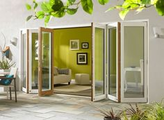 Ultra 16ft White Aluminium Clad Oak Folding Doors | Vufold