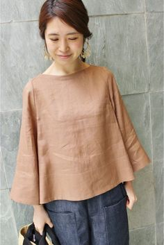Japanese style linen bell-shaped blouse
