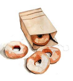 doughnuts illustration by Tracy Hetzel (i think) and Drink anime Watercolor Food, Watercolor Illustration, Watercolor Paintings, Food Sketch, Food Painting, Food Drawing, Donut Drawing, Food Illustrations, Picasso