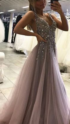 Unique Prom Dress,Grey Sparkly Beaded Prom Dress with Slit,Sexy Long Formal Dresses