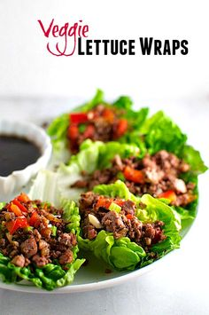 Veggie Lettuce Wraps with tofu and red peppers and served with a Blackberry Hoisin Sauce