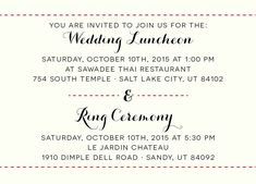 Colleen Luncheon Insert Wedding Invitations