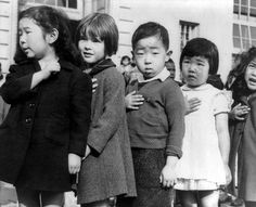 Dorothea Lange. Japanese- American children, pledging allegiance to the American flag. Japanese Internment Camp.