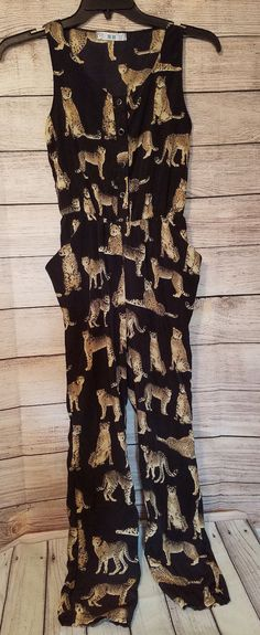 XS/S Black Sleeveless Button Down Cheetah Big Cat Jumpsuit Romper POCKETS #Unbranded #Jumpsuit #CasualSummer