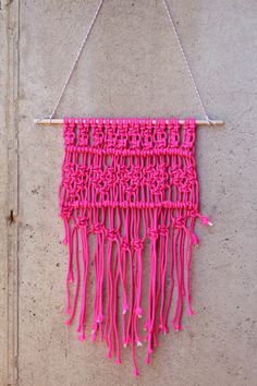 DIY Macrame Hot Pink Wall Hanging Tutorial - needless to say use the color you prefer