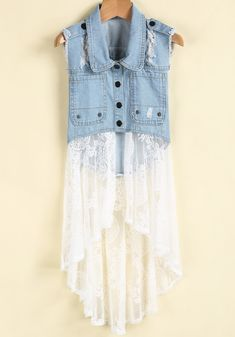To find out about the Blue Lapel Ripped Denim Contrast White Lace Dress at SHEIN, part of our latest Dresses ready to shop online today! Mode Outfits, Denim Outfits, Denim Dresses, Denim Vests, Denim Ideas, Denim Crafts, Denim And Lace, Clothing Hacks, Upcycling Clothing