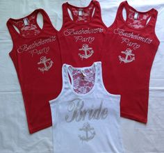 4 Nautical Bachelorette Party Tank Top Shirt. Bridesmaid. Bride. Maid of Honor. Matron of Honor. Wedding Bridal Party Lace Back.