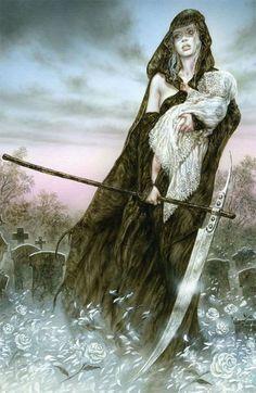 Hel goddess of death by Luis Royo Dark Fantasy Art, Fantasy Women, Fantasy Artwork, Dark Art, Norse Goddess, Norse Mythology, Luis Royo, Spanish Artists, Fantasy Illustration