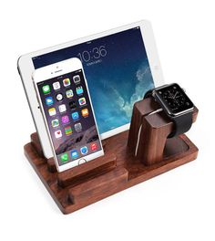 Apple Watch stand - Dark Bamboo Wood Apple Watch Stand, iPhone Charging Stand, iWatch Holder, iPad Stand, iPad Docking Station, iPhone Dock