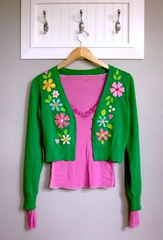 DIY Makeover: Embellished Scandinavian-Inspired Felt Flowers + Leaves Appliquéd Cardigan Sweater Refashion