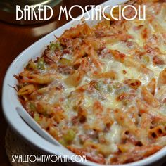 Baked Mostaccioli This is not your lunch ladies mostaccioli! Or your wedding day mostaccioli. This is your connoisseur's mostaccioli with sausage, peppers, garlic, onions and marinara. It is blanketed in mozzarella and provel cheese. Guaranteed to please!