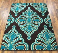 Toledo Chocolate Brown Teal Blue Modern Vine Rugs 6071 160x230cm 5 3 X 7 The Rug House Http Www Dp B006i3jg9y Ref Cm Sw R Pi