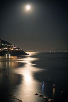 Moon Lit Evening ~ Positano, Italy (One of these days. I will get to Positano! Beautiful Moon, Beautiful World, Beautiful Places, Beautiful Pictures, Beautiful Scenery, Wonderful Places, Beautiful People, Shoot The Moon, Positano Italy