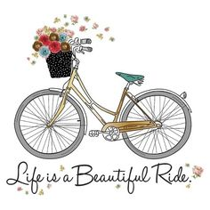 Large Decal - Bike with 3D Flowers