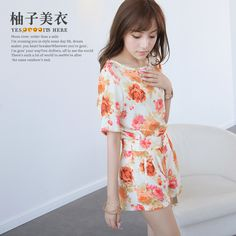 Aliexpress.com : Buy 2013 summer new arrival chiffon flower print short sleeve high waist shorts loose female ae849 twinset from Reliable hoodies set suppliers on Global Fashion Factory. $38.70