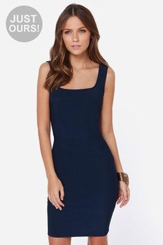 LuLu*s Exclusive! Let your silhouette do the talking in the Body Language Navy Blue Bodycon Dress...