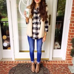 Fall outfit with black and white buffalo check