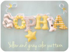 Girls room name banner, Fabric letter name banner - GRAY - YELLOW  COLOR pattern, Baby girl Name Wall Art - Yellow and gray nursery