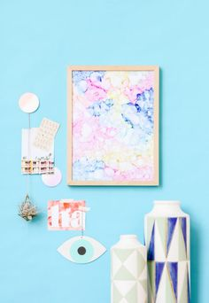 Head in the Clouds: Abstract Color Cloud Art in Under an Hour - Paper and StitchPaper and Stitch Cloud Art, Crafty Projects, Easy Diy Projects, Weekend Projects, Diy Wall Art, Diy Art, Head In The Clouds, Psychedelic Pattern, Diy And Crafts