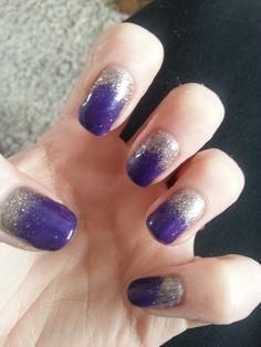 Purple/Gold Rockstar Nails