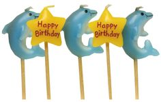 Cake Candles – Dolphin with -Happy Birthday- yellow stars. Great Cake Decoration! | Party Themes - Party Invitations - Cake Decorations - Party Supplies