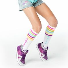 Vintage style white with pink, green and purple stripes on each sock. Mix them and match for a look that is so You-nique sporty you! Vintage Style, Vintage Fashion, Funky Socks, Tube Socks, Knee High Socks, Green And Purple, Tween, Sporty, Stripes