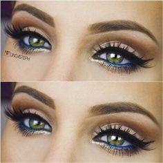 Amazing Eye Look with a hint of Blue and Gold #lindasteph  #eyemakeup #goldliner