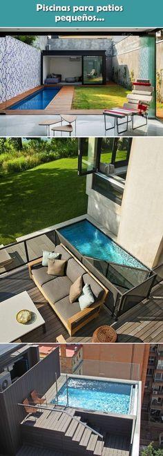 Piscinas para patios pequeños. Piscinas de obra. Piscinas para patios de casas. #piscinas #patios #jardines #decoracionexterior