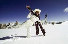 Photograph - Charlotte Rampling Wearing White Ski Wear by Arnaud de Rosnay , Arthur Elgort, Bonnie Cashin, Karen Elson, Charlotte Rampling, Jackson Hole, Missoni, Ski Jumpsuit, Polaroid, Ski Sweater