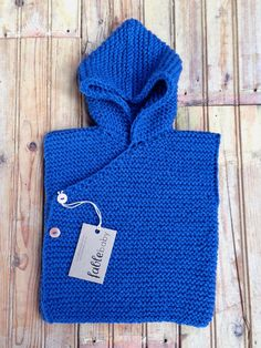 Hand Knitted Organic Cotton Chunky Hoodie Vest in BLUE / MEDIUM