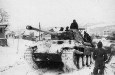 """bmashina: """"The movement of tanks through the village in Cherkasy region """"Panther"""" Ausf.D from the 3rd Panzer corps Wehrmacht. Ukrainian SSR, February 1944. """""""