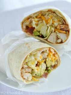 Lunch never tasted so good! This Chicken Wrap is stuffed full of fresh ingredients and slathered with creamy barbecue sauce. Check out the photos!