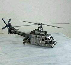 Reclaimed Metal Helicopter Sculpture Art Recycled Auto Parts Only One