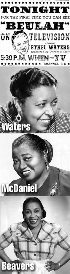 The Beulah Show, the first sitcom to star an African American actress, moved from radio to ABC TV on October 3, 1950, starring Ethel Waters for the first season. Hattie McDaniel, star of radio's Beulah, joined the cast around September of 1951 but only filmed six episodes of the second season before falling ill. She was quickly replaced by Louise Beavers who stayed with the show until its cancellation in 1952.
