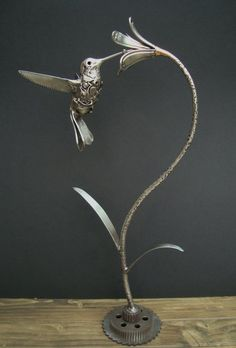 HUMMINGBIRD Made from stainless steel knives forks and scrap nuts and bolts 480mm high