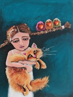 'Bird Girl and the Red Cat' Canvas Art Print by StressieCat ♥≻★≺♥