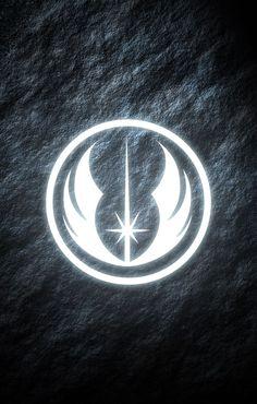 Jedi Order Star Wars phone wallpaper. Glowing symbol.