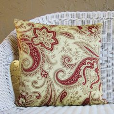 Burgundy Crimson Red Jacobean Floral Pillow by GigglesOfDelight