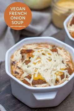 The onions and broth blend transforms into an extremely luxurious bowl of silky onions and smooth broth. If you�ve only eaten French onion soup in restaurants, you�ll be surprised how easy it is to prepare it in your own kitchen. #soup #vegan #onion