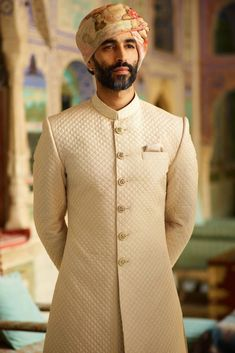 Sabyasachi Inspired Indian wedding dress that you will want for the most valuabl. - Sabyasachi Inspired Indian wedding dress that you will want for the most valuable day of his life s - Sherwani For Men Wedding, Wedding Dresses Men Indian, Wedding Outfits For Groom, Groom Wedding Dress, Sherwani Groom, Groomsmen Outfits, Groom Outfit, Groom Attire, Wedding Men