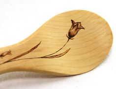 Maple wood spoon with wood burned flower by BardenWoodworking on Etsy. Nicely done ;)