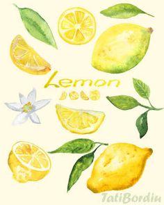 Image result for watercolour lemon pattern
