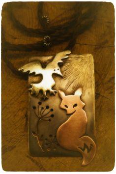 Finnish design:  Raven & Fox – Mixed metal pendant. Jewellery handmade by Tytti Bräysy