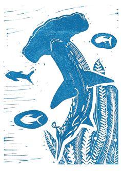 Hammerhead Shark Lino Print - available in my shop... - Jessica Winnie Illustrations