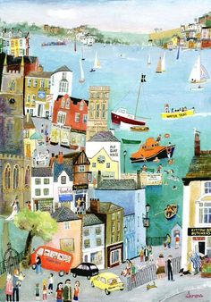 """""""Bus Ride through Fowey"""" Original Painting by Serena, Cornish Naive Artist. Available as limited edition prints and blank art-cards. Art And Illustration, Illustrations And Posters, Building Illustration, Creative Illustration, Naive Art, Art Inspo, Illustrators, Folk Art, Art Drawings"""