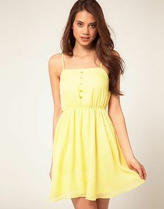 ASOS Strappy Dress w Skater Skirt New w Tag Yellow Sz 10 Sold Out Other Sites | eBay