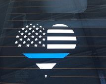 Police Thin Blue Line Decal heart, car decal, back the blue decal, vinyl