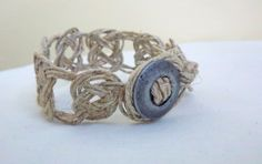 Knot a Button on Me, Twine knotted bracelet with silver metal button clasp by ChelseyWithaY,