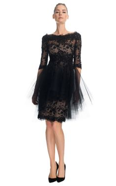 Re-Embroidered Lace Cocktail Dress with Tonal Tulle Overlay by Marchesa for Preorder on Moda Operandi $3995